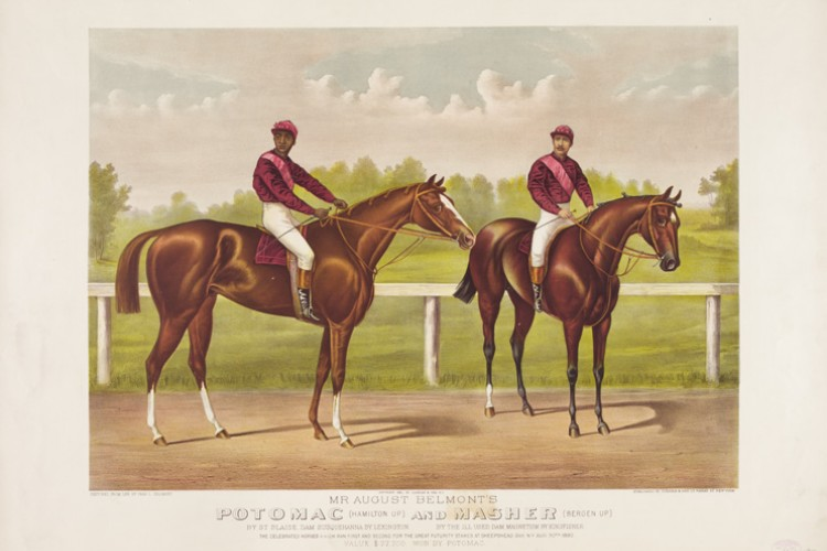 color image of two horses with jockeys