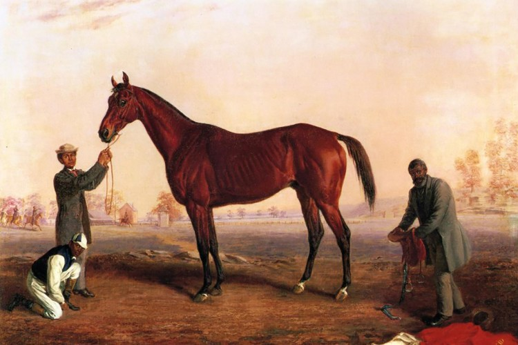 painting of three men and horse