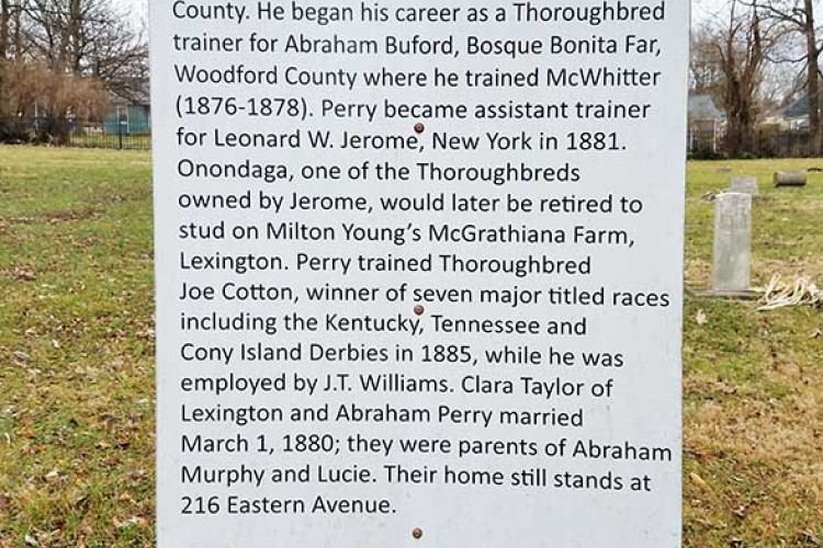 Photograph of Abraham Perry sign